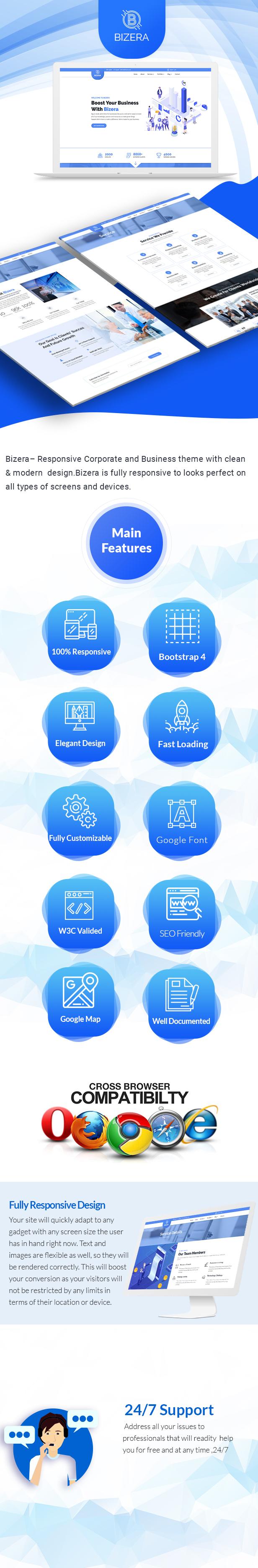 Bizera – Corporate and Business Landing Template - 1